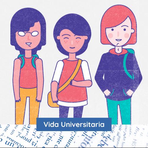 Ilustración de 3 estudiantes con el texto Vida Universitaria